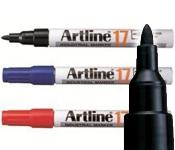 Artline EK-17 Industrial Marker - 1.5mm Bullet Tip, black, red, blue